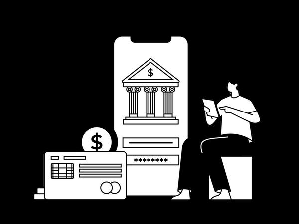Transfer Money Using App Illustration