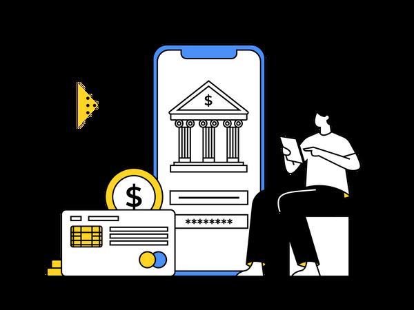 Transfer Money Using Banking App Illustration