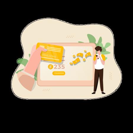 Transfer Money Using Mobile App Illustration