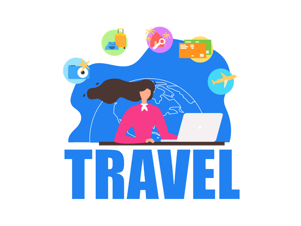 Travel Agency Agent Sitting in Front of Laptop, Offering Company Services to Clients Illustration