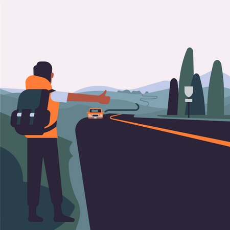 Travel and hitchhiking Illustration