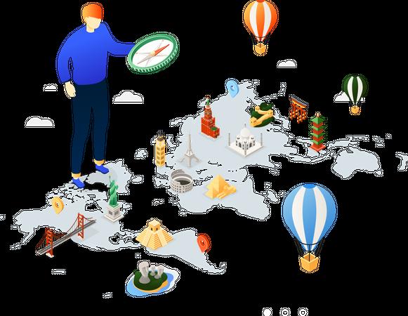 Travel around the world Illustration