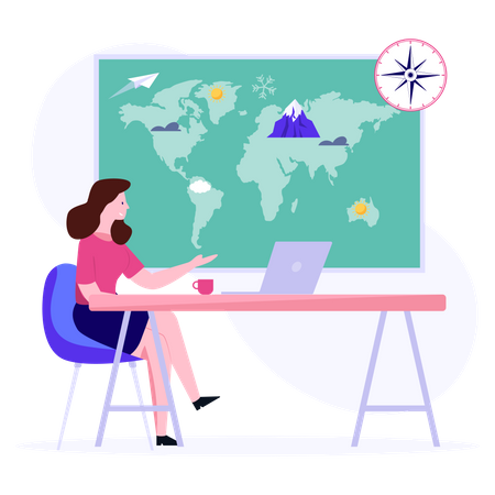 Travel company owner working on laptop Illustration