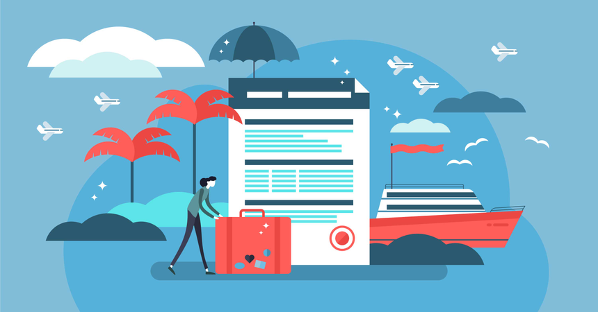 Travel insurance vector illustration with stylized tourist and agreement Illustration