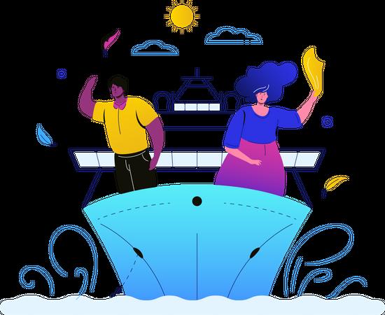Travel on cruise Illustration