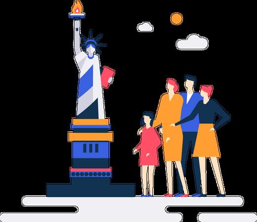 Travel to the USA Illustration