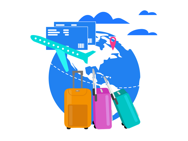 Travel with Airline Company Illustration