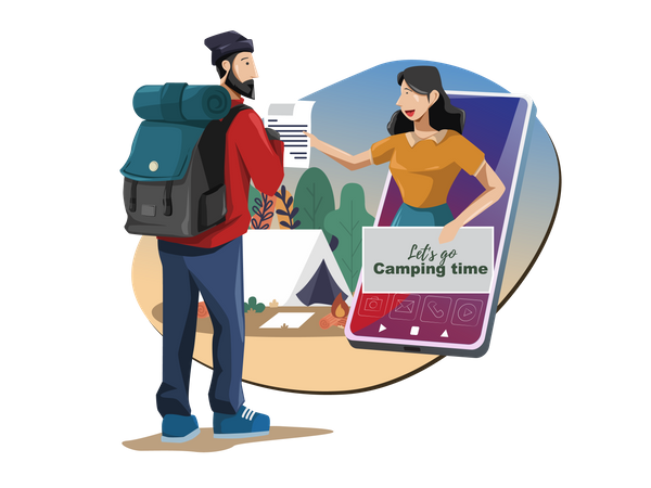 Traveler get customer support in forest or camping via smartphone Illustration