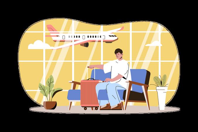 Traveler sitting in waiting room at airport terminal Illustration