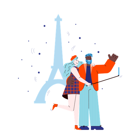 Traveling couple taking selfie with mobile device on Eiffel Tower backdrop Illustration