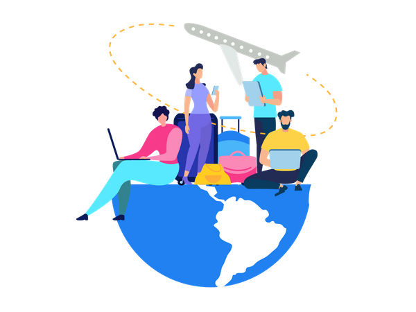 Traveling People Booking Airline Tickets Illustration