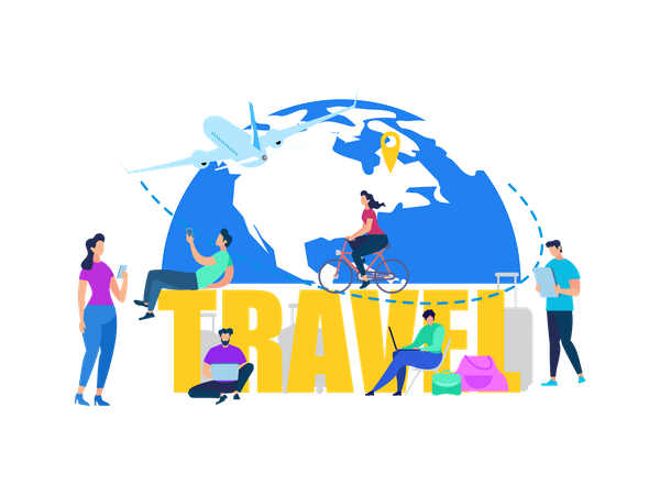Traveling People, Tourists Buying Airline Tickets Online, Booking Hotel Room in Internet, Searching Destinations Illustration