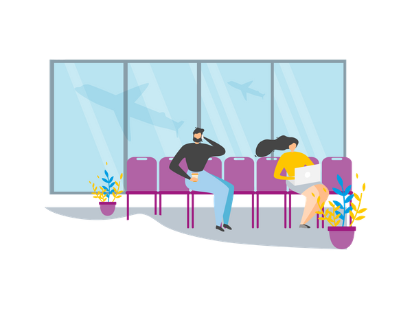 Traveling People Waiting for Flight in Airport Lounge Illustration
