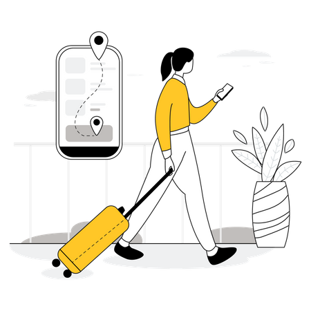 Traveling route Illustration