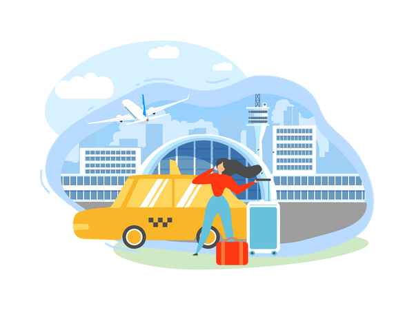 Traveling with Baggage Woman Calling Taxi After Arriving to Airport Terminal Illustration
