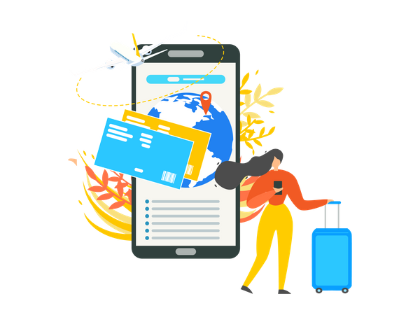 Traveling Woman Searching Flight Schedule for International Travel Illustration