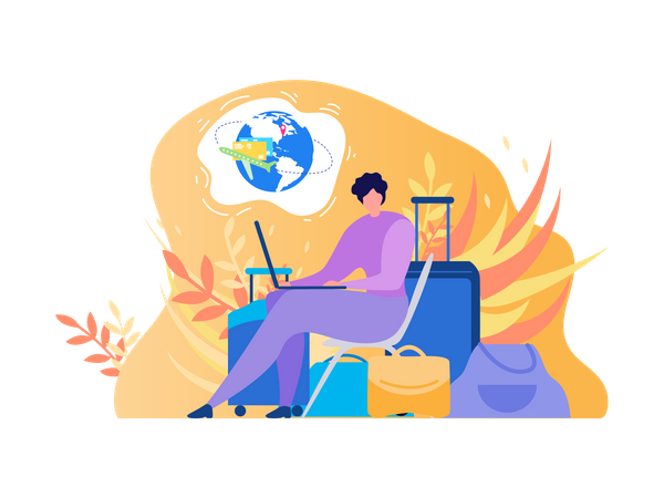 Traveling Woman Using Laptop for Booking Airline Tickets Online, Searching Flights, Reserving Hotel on Internet Illustration