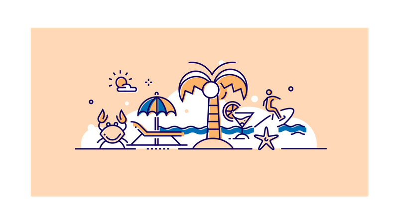 Travelling and beach Illustration