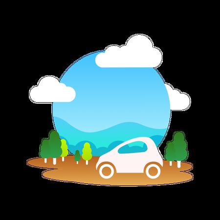 Travelling car Illustration