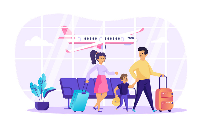 Travelling with family Illustration