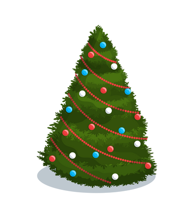 Tree Decoration Balls and Chaplet Vector Isolated Illustration