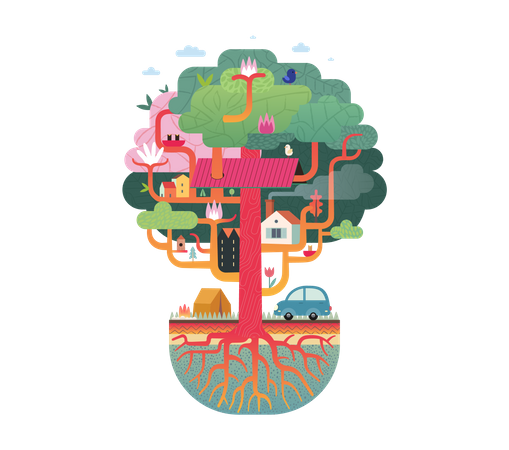 Tree house in the city Illustration