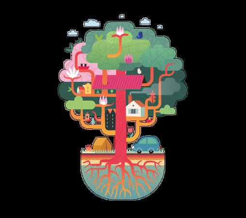 Tree house park Illustration