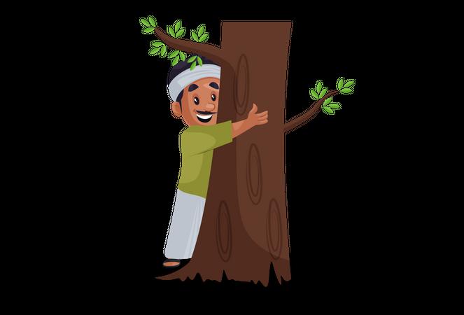 Tree lover hugging tree Illustration