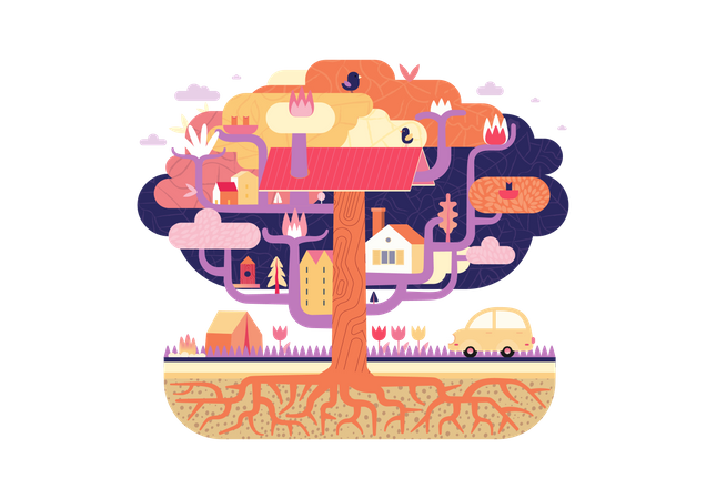 Tree with houses Illustration