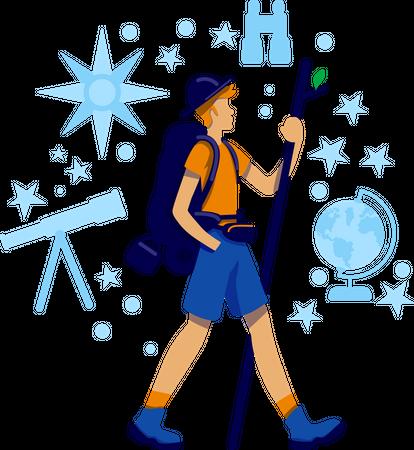 Trekker discover trail on mountain Illustration