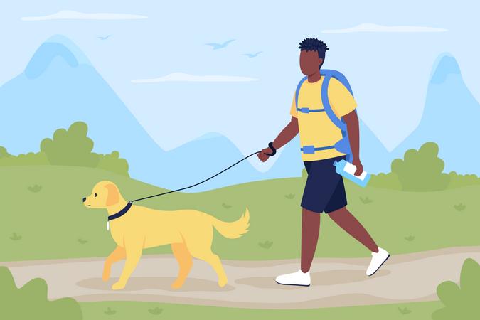 Trekker walk with dog companion Illustration