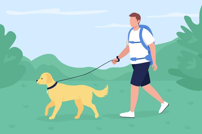 Trekker walk with dog in countryside Illustration