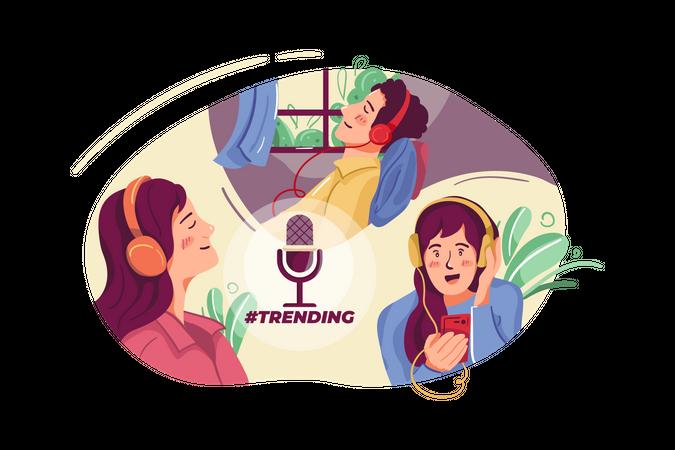 Trending podcast Illustration