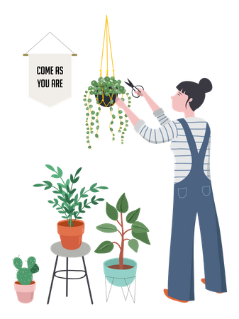 Trendy home decor with plants, planters, cacti, tropical leaves Illustration