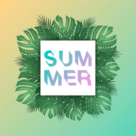 Trendy summer tropical leaves Illustration