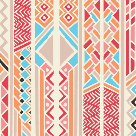 Tribal ethnic colorful bohemian pattern with geometric elements, African mud cloth, tribal design Illustration