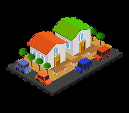 Triplex houses Illustration