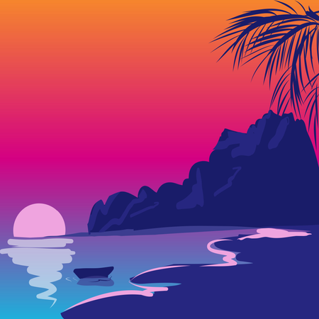 Tropical beach with wave, trees, sand Illustration