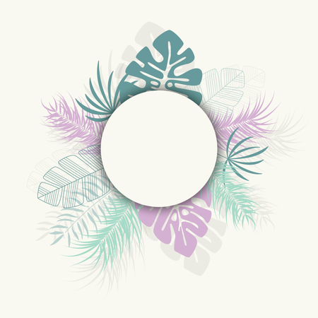Tropical design with colorful palm leaves and plants on white background with place for text Illustration