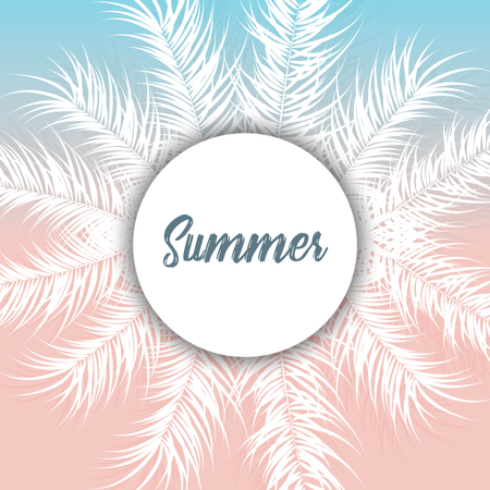 Tropical design with white palm leaves and plants on gradient background with text Illustration