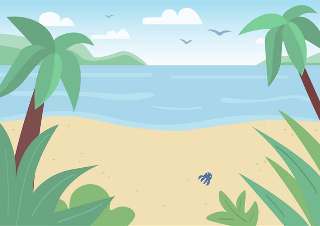 Tropical sand beach and sea Illustration