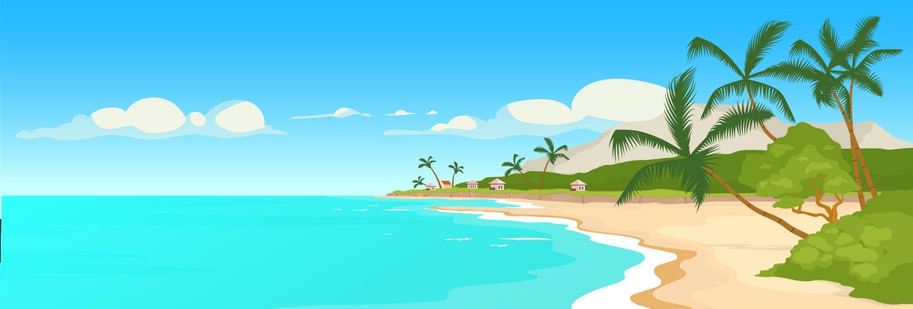 Tropical sandy beach Illustration