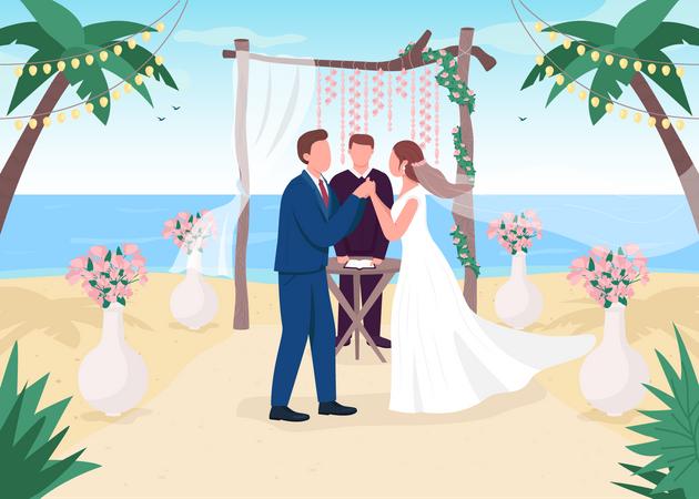 Tropical wedding ceremony Illustration