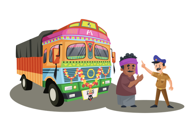 Truck driver apologizing to a policeman Illustration