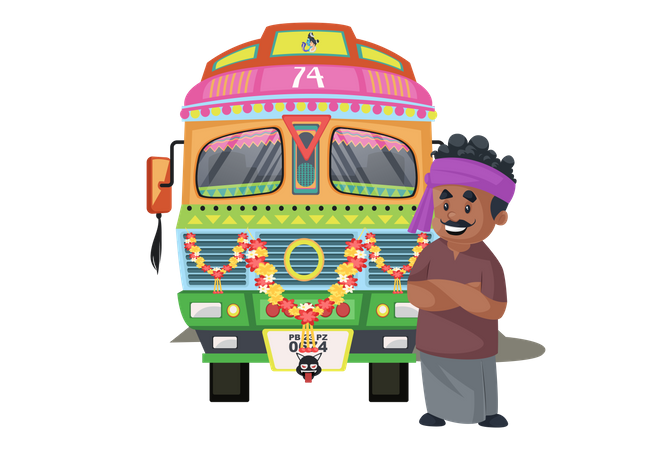 Truck driver is happy and standing with truck Illustration