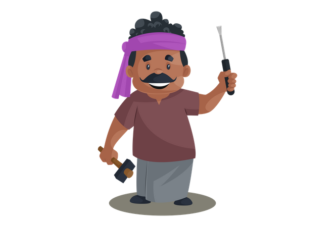 Truck driver is holding a screwdriver and hammer in hand Illustration