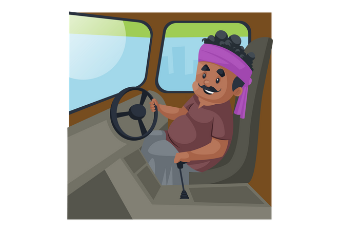 Truck driver is sitting in the truck and holding steering wheel Illustration