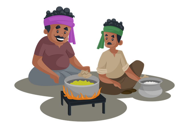 Truck driver is sitting with a man and making food on the stove Illustration