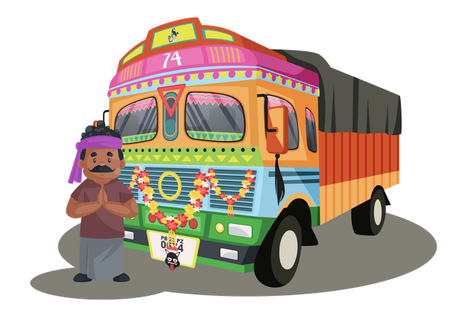 Truck driver is standing with the truck and greet Illustration