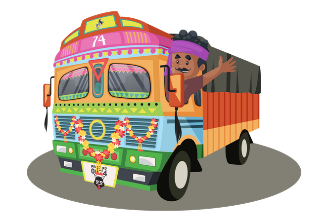 Truck driver is waving hand from the truck Illustration